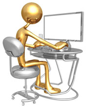 Gold man providing technology support